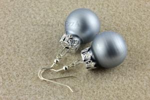 Ohrringe Weihnachtskugeln ☆ blau matt silbern lustig ☆ für die Weihnachtsfeier