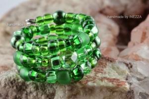 Spiralring Einheitsgröße Memory Wire grün Ringbreite 12 mm