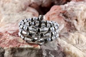 Spiralring Einheitsgröße Memory Wire Grau Ringbreite 10 mm - Handarbeit kaufen