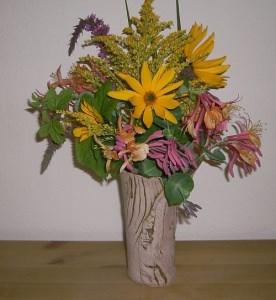 Vase HOLZ Keramikvase, Blumenvase mit Holzdekor