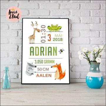 Geburtsprint | Babyanzeige | Namensbild | Format A4