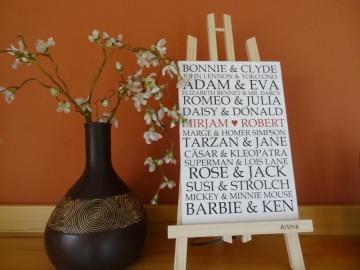 Romantisches Schild mit berühmten Liebespaaren, auch dein Name kann dort stehen