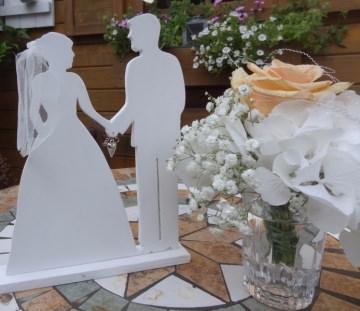 romantisches Brautpaar als Dekofür den Brauttisch