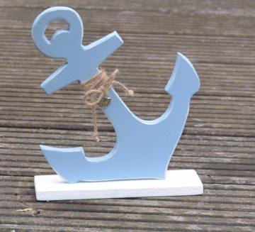 Maritimer Anker aus Holz, in hellblau (kleine Version)