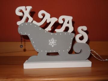 Weihnachtsschlitten XMAS in weiß und grau