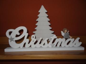 Schriftzug Christmas mit kleinen  Engelchen in  liebevoller Handarbeit ausgesägt