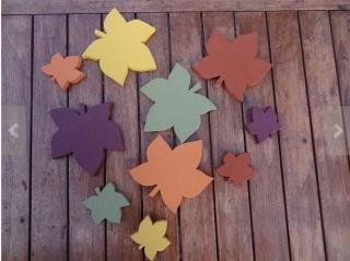 Herbstlaub Blätter aus Holz in warmen Farbtönen, 3 teilig