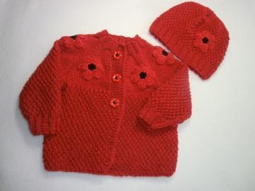 Babyjacke und Babymütze gestrickt als Set Gr. 74 - 80 by Juttas Zauberstrick - Handarbeit kaufen