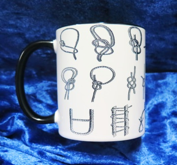Kaffee-Becher mit Diversen Schifferknoten in Schwarz