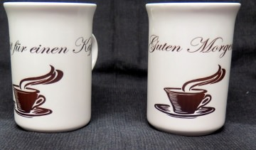Kaffee-Becher Windsor Slim Line mit schönen Aufdruck Guten Morgen oder Zeit für einen Kaffee