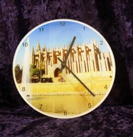Große Glas-Uhr glänzend, ø 290mm x 4 mm.