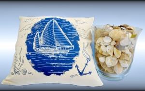 Wunderschöner Kissenbezug mit maritimen Aufdruck Segelschiff