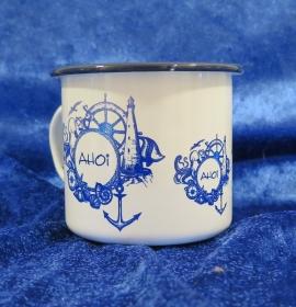 Emaille Tasse mit farbigen Rand und maritimen Aufdruck