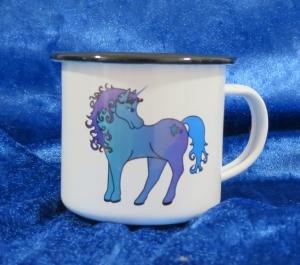 Emaille Tasse mit farbigen Rand und süßem Einhorn