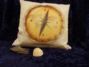 Kissenbezug Maretimer Aufdruck Kompass, Personalisierbar