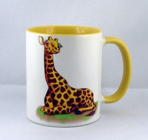 Süßer Becher Weiß / Gelb mit einer Giraffe