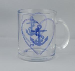 Tolle Glasstasse / Becher mit Maritimen Aufdruck