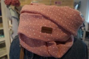 momseven handmade Loopschal Pünktchen rose weiß Loop Musselin Baumwollstoff Schlauchschal