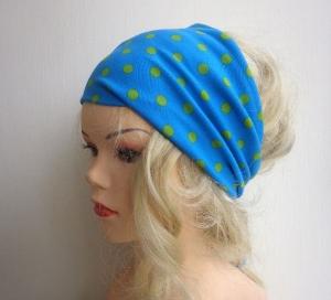 türkis hellgrün gepunktet - Haarband Haarbänder extra breit HairBand, Yoga, Wellness - Handarbeit kaufen