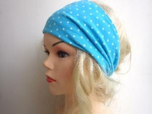 türkis weiß gepunktet - Haarband Haarbänder extra breit HairBand, Yoga, Wellness