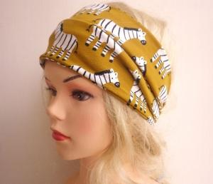 Zebra senfgelb - Haarband Haarbänder extra breit HairBand, Yoga, Wellness, Öko - Handarbeit kaufen
