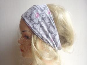 Kamelie hellgrau - Haarband Haarbänder extra breit HairBand, Yoga, Wellness, Öko, rosa Blüten  - Handarbeit kaufen