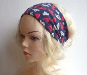 Papierschiff - Haarband Haarbänder extra breit HairBand, Yoga, Wellness, Öko, marineblau Origami maritim - Handarbeit kaufen