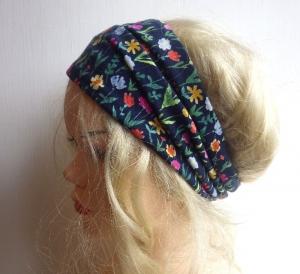 Blümchenpflücken im Blauen! - Haarband Haarbänder extra breit HairBand, Yoga, Wellness, Streublümchen, Streublumen, Blümchen
