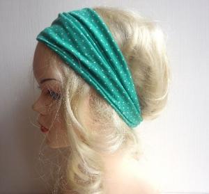 Jetzt haben wir den Salat! - Haarband Haarbänder extra breit HairBand, Yoga, Wellness, Öko, Polka Dots, Punkte, grün