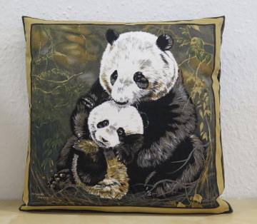 Kissenbezug / Kissenhülle  mit zwei Pandabären
