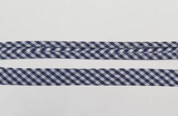 Polyester-Schrägband in blau-weiß kariert, vorgefalzt auf 20 mm, 1 Meter