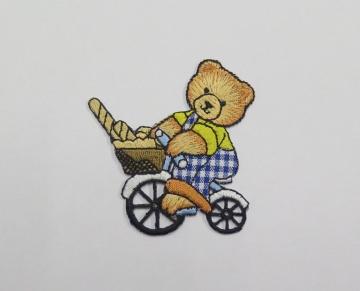 Applikation / Aufnäher Bär auf Fahrrad