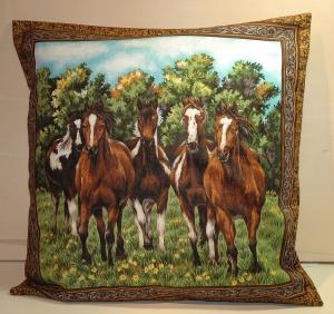 Kissenbezug / Kissenhülle mit 5 Pferden