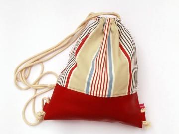 Rucksack Kunstleder rot Streifen