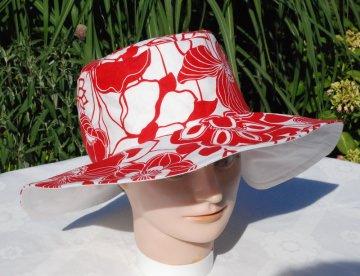 Sonnenhut für Damen rot-weiß
