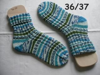 handgestrickte Socken Gr. 36/37 aus kratzfreier Wolle , handgestrickte Strümpfe