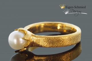 Goldschmiedering Perlenring