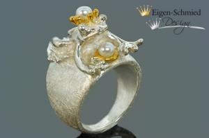 Goldschmiede Froschring Silberring