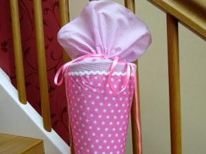Schultüte aus Stoff Sterne rosa weiß Zuckertüte