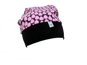 Mütze Beanie in schwarz und rosa mit Tropfen
