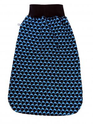 Schlafsack Delfine Fußsack Pucksack in blau mit Delfinen