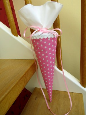 Geschwistertüte Kindergartentüte aus Stoff Sterne rosa weiß