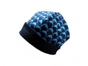 Süße Mütze Delfine in dunkelblau und türkis