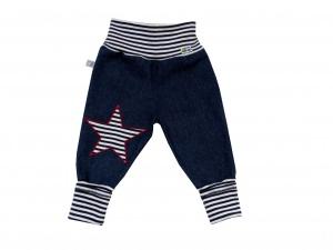 Jeans Mitwachshose Stern blau weiß Babyhose Hose Pumphose