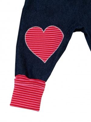 Jeans Mitwachshose Herz rot rosa Babyhose Hose Pumphose