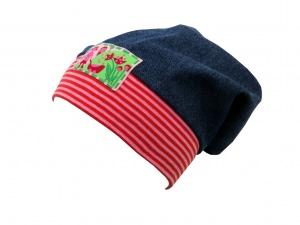 Süße Jeans Mütze Beanie für kleine Mädchen in blau und rot - rosa (Kopie id: 20312)