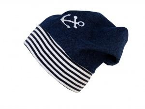 Süße Jeans Mütze Beanie für coole Kids mit Anker