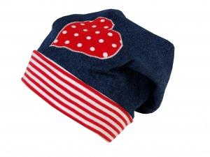 Süße Jeans Mütze Beanie für kleine Mädchen in blau und rot