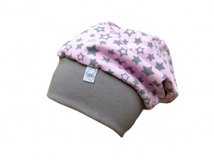 Mütze Beanie in rosa und grau mit Sternen