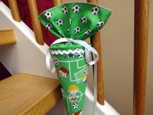 Geschwistertüte Kindergartentüte aus Stoff Fußball für Jungen